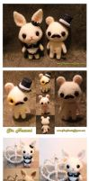 Sir Mouse and Miss Bunny ~ Custom Made Felt Dolls by TheHeartofJapan
