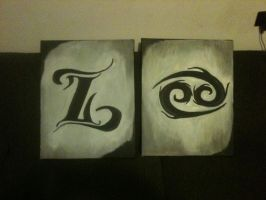 Cancer and Aries Zodiac Canvas Duo by marlainawho