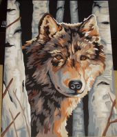 Wolf in Birchtrees DONE by arowolf
