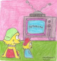 Lisa and Maggie Watching TV by MarioSimpson1