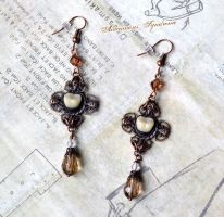 Victorian Mourning Gothic Earrings fake molar II by Verope