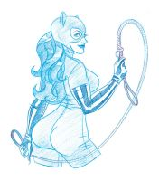 Belle Chere Catwoman Cosplay Sketch by comixmill