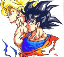 SSJ goku and goku by trunks24