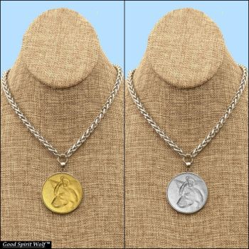 Good Spirit Wolf Coin with Luxurious Necklace by GoodSpiritWolf