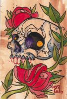 Skull and Roses by DaveGrimm