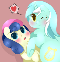 Lyra and Bon Bon by Xeella