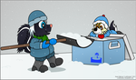 Ozzie and Tavi in the Snow by LordDominic