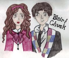 Blair and Chuck Cartoon Sketch by KissingButterfly
