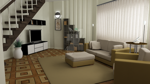 Waterhouse Townhouse design 1 - Living room by MattShadowwing