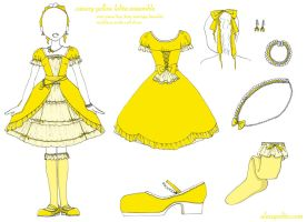 Canary Yellow Lolita Ensemble by rakugakikiss