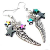 Wing and Star Earrings by fairy-cakes