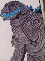 color added to my Godzilla 2003 drawing. by Shin-Ben