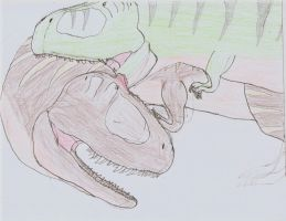 T rex vs Giganotosaurus battle by TheSpiderAdventurer