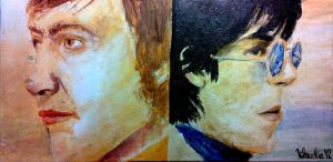 Charlie and Keef from The Rolling Stones on canvas by klaka97