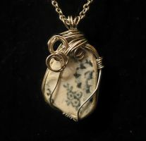 sea pottery wire wrapped necklace by Katlynmanson