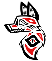 Native American Inspired Wolf Head Tattoo Red+Blak by aNewChapter