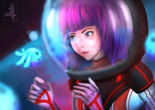 A space girl and little cute monster by n34ty
