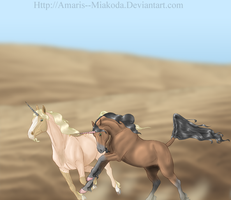 Sand dunes and Hoofbeats by Amaris--Miakoda