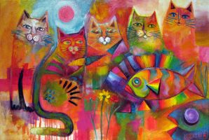 Rainbow fish and his kitticat friends by karincharlotte