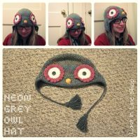 Neon Grey Owl Hat by the-carolyn-michelle