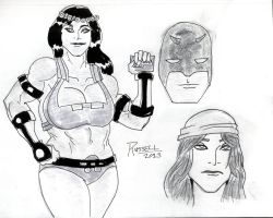 Big Barda, Daredevil, and Elektra by fmvra1s