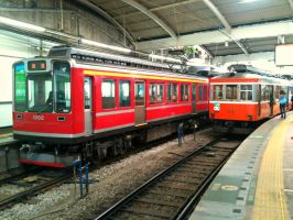 Hakone Tozan 1000 and MoHa 2, Hakone Yumoto by ToniBabelony