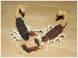 Crocheted Scorpions In Action by janey-in-a-bottle