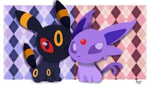 Paper Espeon and Umbreon by MamaRocket