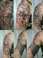Viking Iron Cross Skull TaT by 2Face-Tattoo