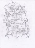 Harley Quinn - Tattoo Design - Outline by TwistedSensibility