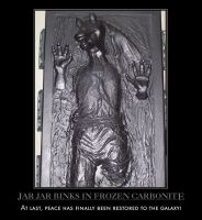 Jar Jar in Frozen Carbonite by PyroDarkfire