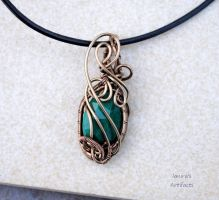 Green emerald wire wrapped fairy pendant by IanirasArtifacts
