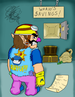 Wario indulges himself in his funds by Nintendawgv2