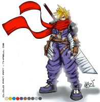 Cloud Strife Fanart Coloring by JHTriune