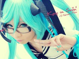 Hatsune-Miku: Keep Smilin' by kuricurry