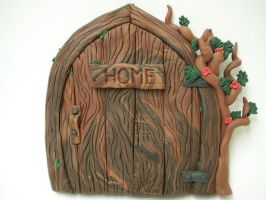 Red Rose Tree Fairy Door by FlyingFrogCreations