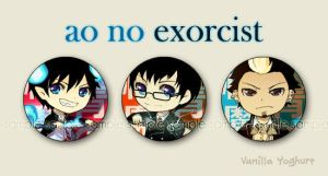 Ao no Exorcist buttons by anikakinka