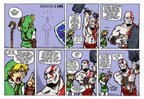 Kratos and Link 2 -colors- by Canti78