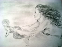 Mermaid swimming with baby by allison712