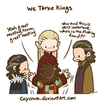 Hobbit - We Three Kings and Bilbo by caycowa