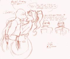 Raph x Mona sketch by juliefofisss