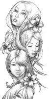 Girl Faces Full Sleeve Design by angotti81
