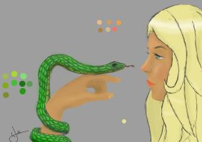 The girl and the snake _ colored by Programmega