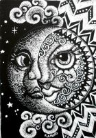 ACEO scratchboard Sun and Moon by MandarinMoon
