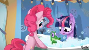 Twilight, Pinkie and Gummy - Bath Time 16.9 by mysticalpha