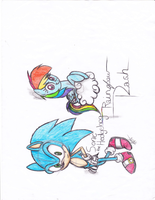 Speed Team: Sonic and Rainbow Dash by Spectra-the-Hedgehog
