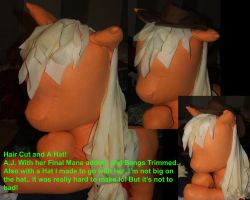 Apple Jack 39in plushie mane progress by LilWolfStudios