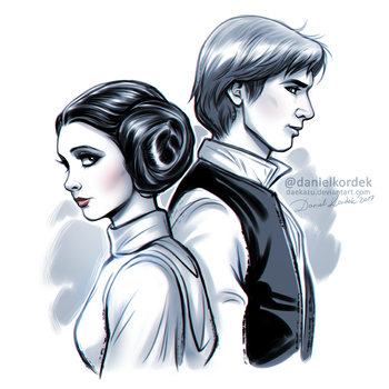 Star Wars: Leia + Han by daekazu