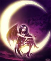 Lonely Vampiress On a Crescent by JarrrodElvin
