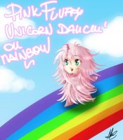 Pink Fluffy unicorn dancin' on rainbow by Albablue